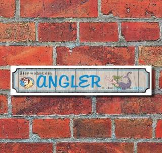 """Retro Vintage Schild Straßenschild """"Angler"""" 52 x 11 cm Alu-Verbund"""