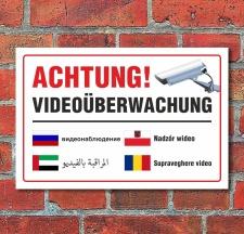 Schild Videoüberwachung mehrsprachig arabisch...