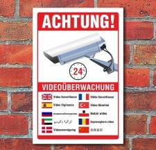 Schild Videoüberwachung Warnschild Hinweisschild 10...