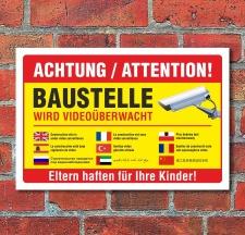 Schild Baustelle Videoüberwachung mehrsprachig...