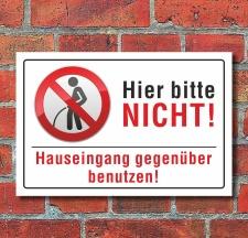 Schild Pinkeln verboten urinieren pissen Hauseingang...