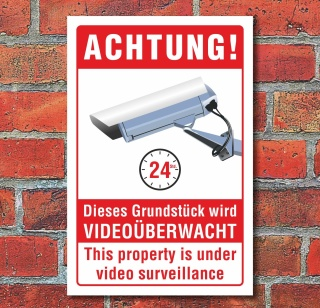 Schild Grundstück Videoüberwacht Videoüberwachung englisch 3 mm Alu-Verbund 300 x 200 mm