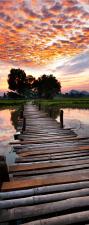 Türtapete Sonnenuntergang Brücke See Natur Türposter selbstklebend 2050 x 880 mm