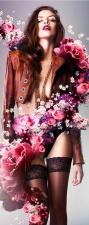 Türtapete Sexy Frau Rose Rosen Erotik Türposter selbstklebend 2050 x 880 mm
