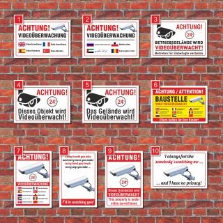 Schild Videoüberwachung Warnung Hinweisschild Videoüberwacht Kamera mehrsprachig