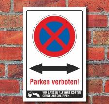 Schild Parken verboten Beide Richtungen Pfeil Halteverbot...
