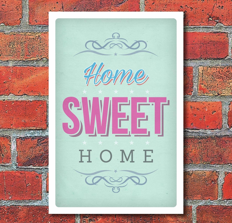 schild home sweet home vintage retro shabby design geschenk 3 mm alu 7 49. Black Bedroom Furniture Sets. Home Design Ideas