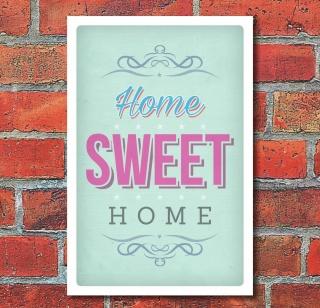 Schild Home sweet home Vintage Retro Shabby Design Geschenk 3 mm Alu-Verbund