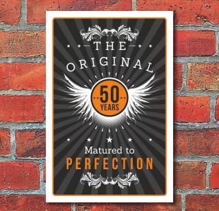Schild Retro Vintage Geburtstag Geschenk 50er fünfzig Perfektion 3mm Alu-Verbund