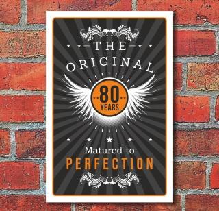 Schild Retro Vintage Geburtstag Geschenk 80er achtzig Perfektion 3mm Alu-Verbund
