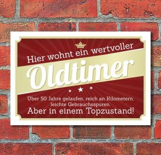 Schild Retro Vintage Geburtstag Geschenk Oldtimer 50 50er fünfzig Alu-Verbund