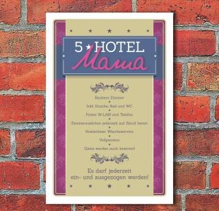 Schild Retro Vintage Geschenk 5 Sterne Hotel Mama Spruch lustig 3 mm Alu-Verbund