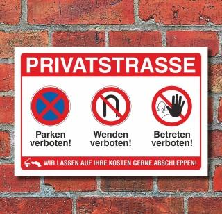 Schild Privatstraße Parken Wenden Betreten verboten Halteverbot Alu-Verbund