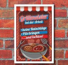 Schild Grillmeister Barbecue Barbeque BBQ Feiern grillen...