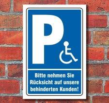 Schild Behinderten Parkplatz Rücksicht Rollstuhl...