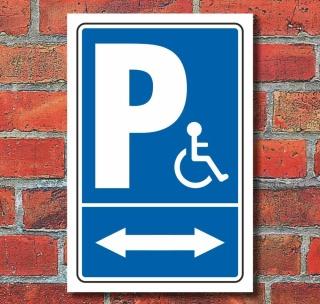 Schild Behinderten Parkplatz Rollstuhl Fahrer Park verbot 2 Pfeile Alu-Verbund