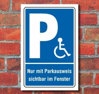 Schild Behinderten Parkplatz Rollstuhl Fahrer Parkverbot Parkausweis Alu-Verbund