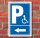 Schild Behinderten Parkplatz Rollstuhlfahrer Parkverbot Pfeil Links Alu-Verbund