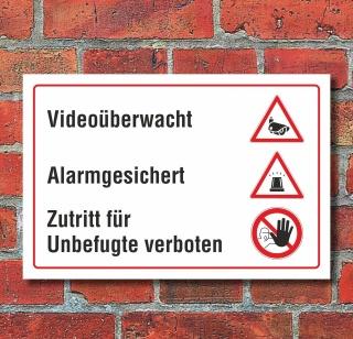 Schild Alarmgesichert Videoüberwacht Zutritt verboten Kamera 3 mm Alu-Verbund