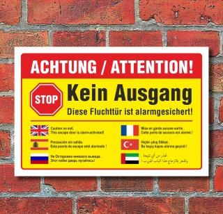 Schild Kein Ausgang Fluchttür alarmgesichert mehrsprachig arabisch Alu-Verbund