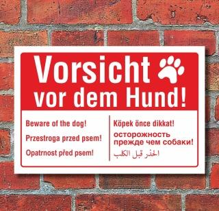 Schild Vorsicht vor dem Hund mehrsprachig englisch polnisch arabisch Alu-Verbund