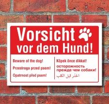 Schild Vorsicht vor dem Hund mehrsprachig englisch...
