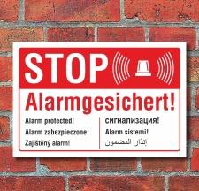 Schild STOP Alarmgesichert englisch russisch polnisch...