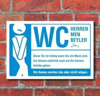 Schild WC Toilette Herren Männer mehrsprachig witziger Spruch 3 mm Alu-Verbund