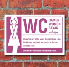 Schild WC Toilette Damen Frauen mehrsprachig witziger...