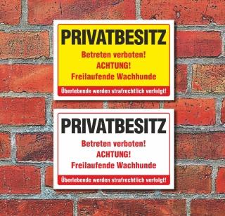Schild Privatbesitz Betreten verboten Freilaufender Hund 3 mm Alu-Verbund