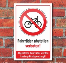 Schild Fahrräder abstellen verboten kostenpflichtige...