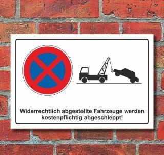 Schild Parkverbot Halteverbot Parken verboten abschleppen Piktogramm Alu-Verbund