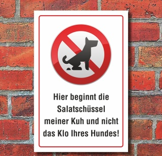 Schild Kein Hundeklo Hundekot, Wiese Weide Salatschüssel Kuh 3 mm Alu-Verbund
