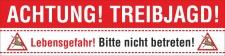 PVC Werbebanner Banner Plane Achtung Treibjagd Jagd...