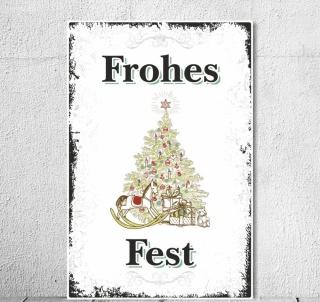 """Schild Vintage Shabby Nostalgie Holzschild """"Frohes Fest"""" Weihnachten Christmas"""