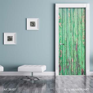 Türtapete Türposter Holztür, alt, rustikal grün selbstklebend 2050 x 880 mm