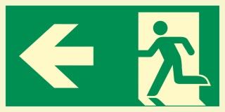Links Fluchtwegschild Rettungswegschild Aufkleber Nachleuchtend ASR A1.3