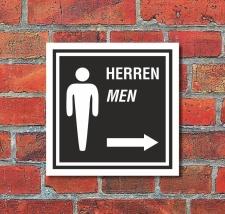 Schild WC Toilette Klo Herren Pfeil rechts Türschild...