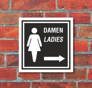 Schild WC Toilette Klo Damen Pfeil rechts Türschild 200 x 200 mm Alu-Verbund
