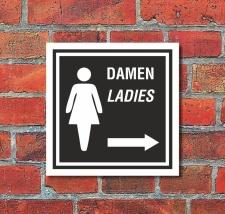 Schild WC Toilette Klo Damen Pfeil rechts Türschild...