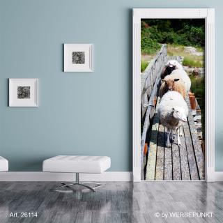 Türtapete Türposter Türfolie Schafe Steg Natur Wald, selbstklebend 2050 x 880 mm
