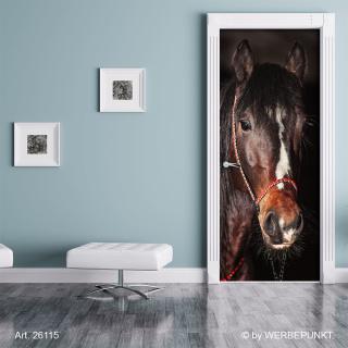 Türtapete Türposter Türfolie Pferd braunes Warmblut, selbstklebend 2050 x 880 mm