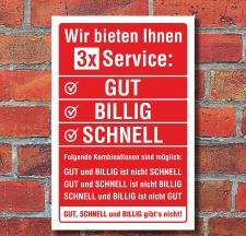 Schild Service GUT BILLIG SCHNELL Geburtstag Geschenk...