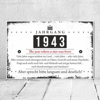 Holzschild Retro Vintage Geburtstag 80 80er achtzig Jahrgang 1941 Geschenk