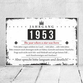 Holzschild Retro Vintage Geburtstag 70 70er siebzig Jahrgang 1951 Geschenk