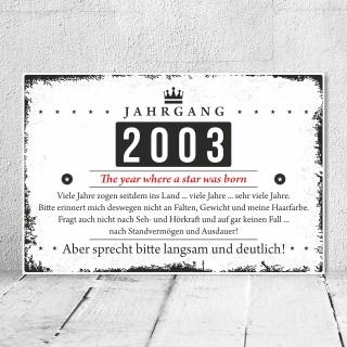 Holzschild Retro Vintage Geburtstag 20 20er zwanzig Jahrgang 2001 Geschenk