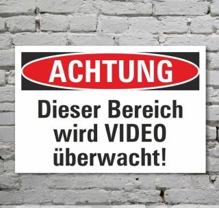 Schild Achtung Bereich wird videoüberwacht Kameraüberwacht 3 mm Alu-Verbund