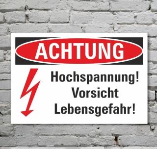 Schild Achtung Vorsicht Hochspannung Lebensgefahr Blitz Symbol 3 mm Alu-Verbund