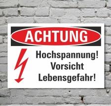 Schild Achtung Vorsicht Hochspannung Lebensgefahr Blitz...