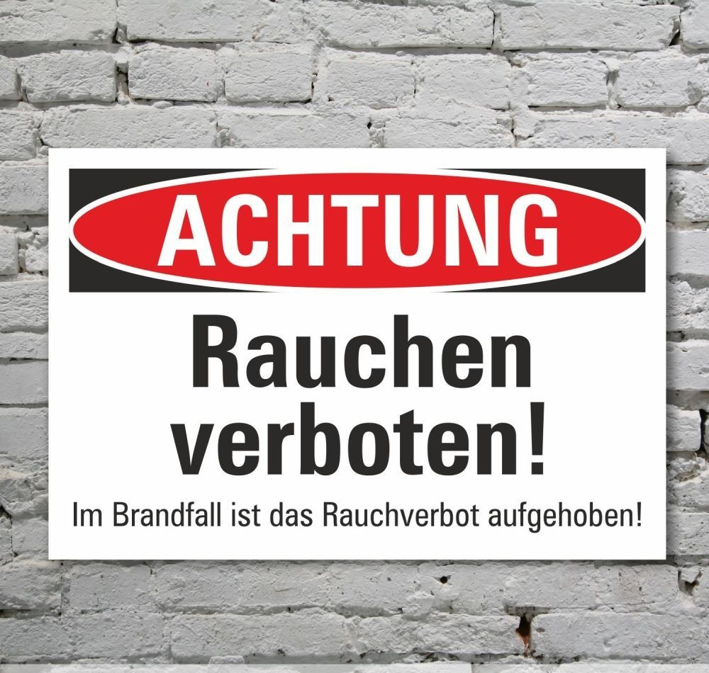 schild achtung rauchen verboten hinweisschild verbotsschild 3 mm alu 7 49. Black Bedroom Furniture Sets. Home Design Ideas